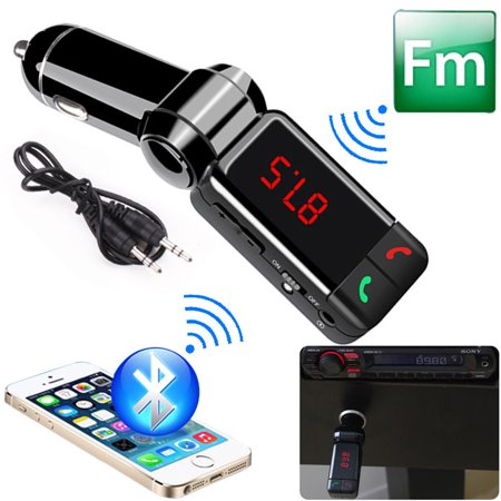 - Car Bluetooth Kit Music Player FM Transmitter Wireless for Car MP3 Player with Dual USB Charging, Card Reading + AUX Input, Music Control and Hands-Free Calling