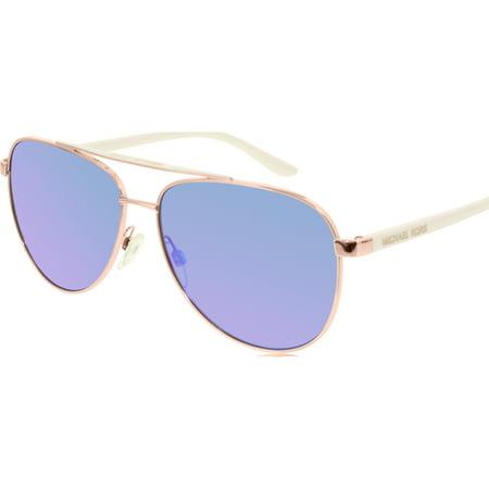 0b01ced03c Michael Kors - Women s Mirrored Hvar MK5007-104525-59 Rose Gold Aviator  Sunglasses - Walmart.com