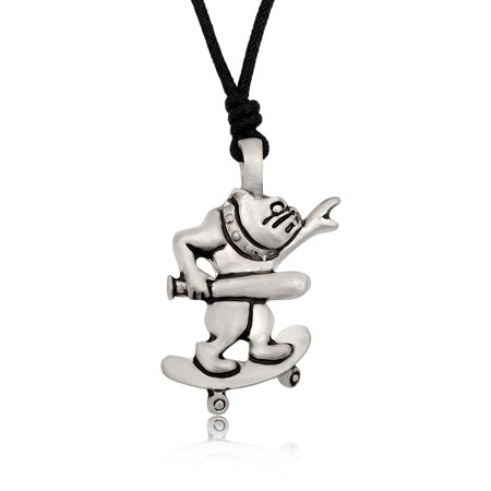 New Skateboard Silver Pewter Charm Necklace Pendant Jewelry With Cotton Cord