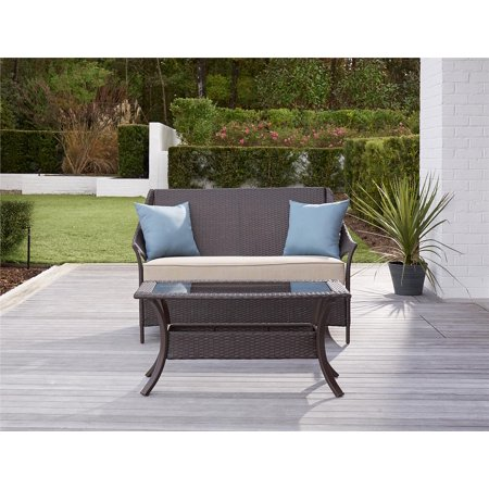 COSCO Outdoor Living Lakewood Isle Deep Seating Patio Loveseat and Coffee Table, Dark Brown Wicker, Tan Cushions, Blue - Love Table