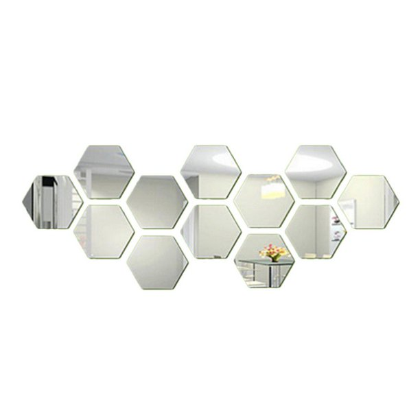 12pcs Acrylic Mirror Wall Stickers Self Adhesive Removable Hexagonal Decorative Mirror Sheet For Home Living Room Bedroom Decor Walmart Com Walmart Com