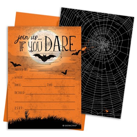 Halloween Party Invitation Cards with Envelopes - Join Us If You Dare (Set of 12) for $<!---->