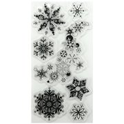 "Inkadinkado Christmas Clear Stamps, 4"" x 8"" Sheet, Snowflakes-A-Plenty"