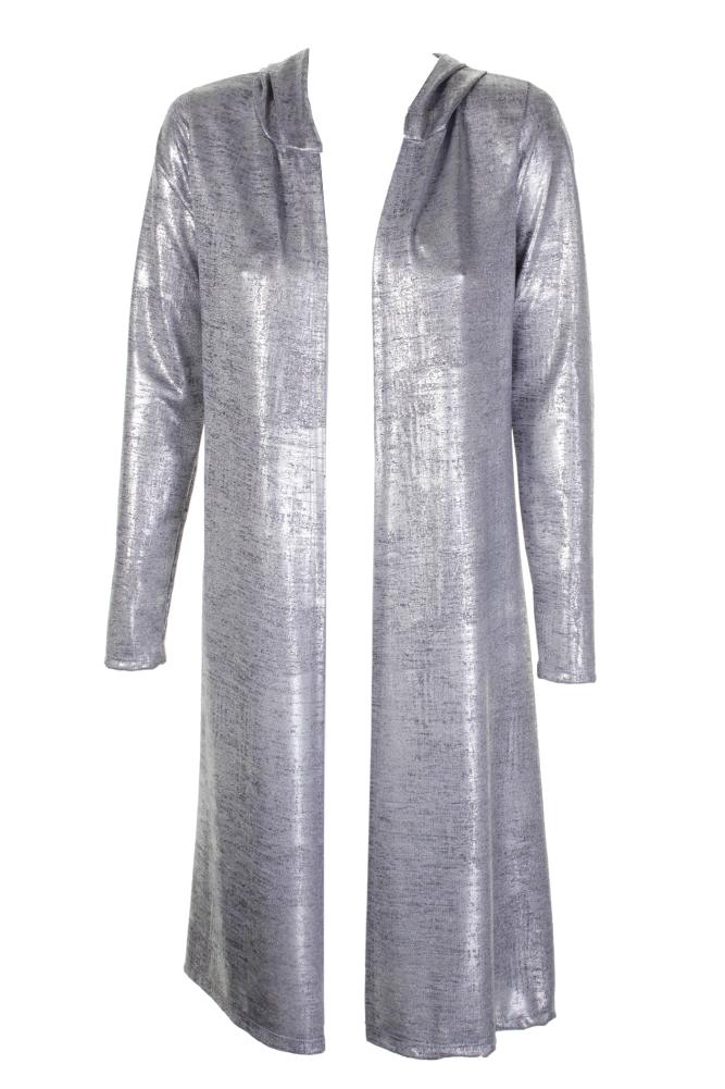 Love Juniors Silver Metallic Hooded Cardigan  S