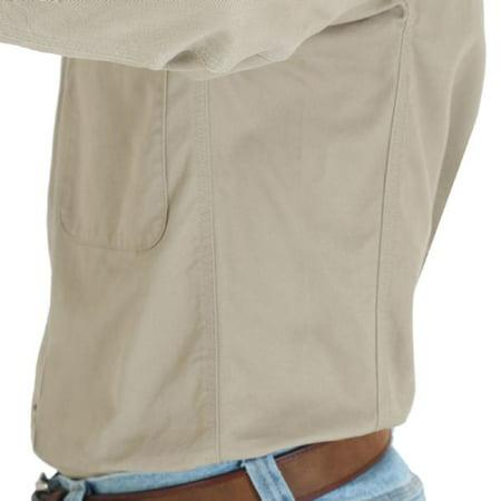 e03c74520004 Wrangler Workwear - Wrangler Workwear 3W501 Twill Work Shirt-Khaki-Reg-M -  Walmart.com