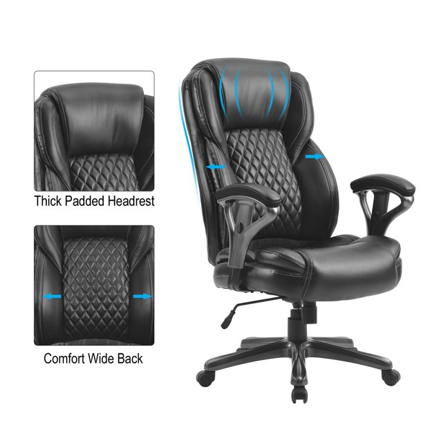 Home Office Big And Tall Pu Leather Office Chair Ergonomic Computer Chair High Back Pu Executive Chair Black Walmart Com Walmart Com
