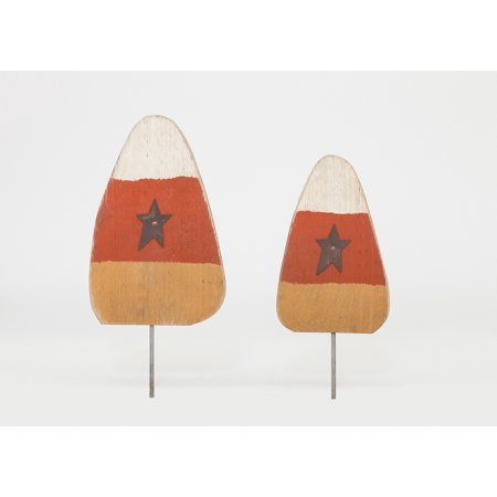 Furniture Barn USA™ Primitive Rustic Wooden Candy Corn Lawn Post Set of 2 - Fall / Autumn Decoration (Wooden Lawn Decorations Halloween)