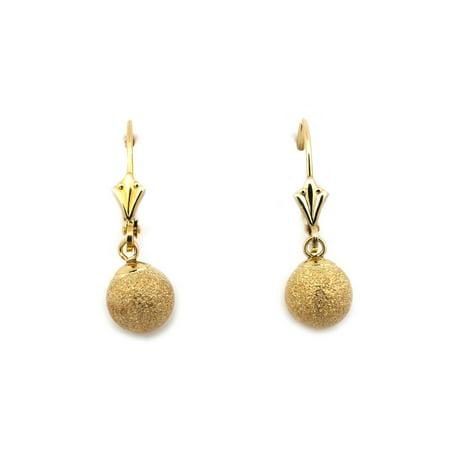 14k Yellow Gold 5mm, 6mm, 7mm or 8mm Sparkling Diamond Cut Ball Dangle Leverback Earrings