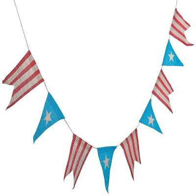IN-13738886 Rustic 4th of July Burlap Pennant Banner