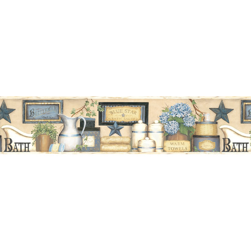 Brewster Home Fashions Countryside Martha Country Bath 15' x 6'' Food and Beverage 3D Embossed Border Wallpaper