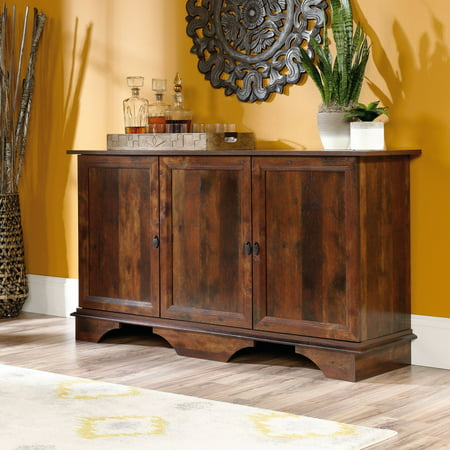 Cherry Carved Curio Cabinet - Sauder Viabella Storage Cabinet, Curado Cherry Finish