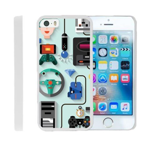 TurtleArmor ® | For Apple iPhone SE | iPhone 5 | iPhone 5s [Slim Duo] Two Piece Hard Cover Slim Snap On Case - Gaming Icons ()