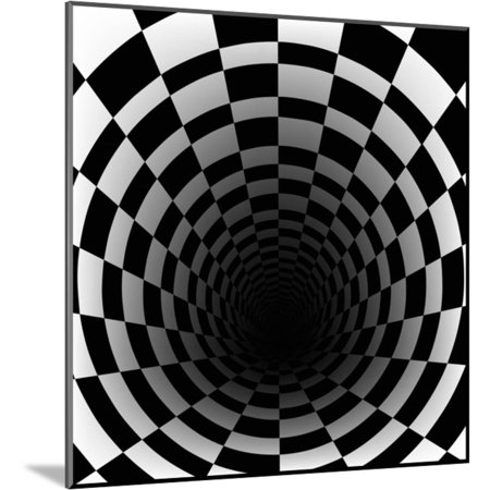 Checkerboard Background With Perspective Effect Wood Mounted Print Wall Art By Vlada13