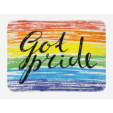 - Pride Bath Mat, Got Pride Sketchy Hand Written Phrase Grunge Crayon Paint Style International Event, Non-Slip Plush Mat Bathroom Kitchen Laundry Room Decor, 29.5 X 17.5 Inches, Multicolor, Ambesonne