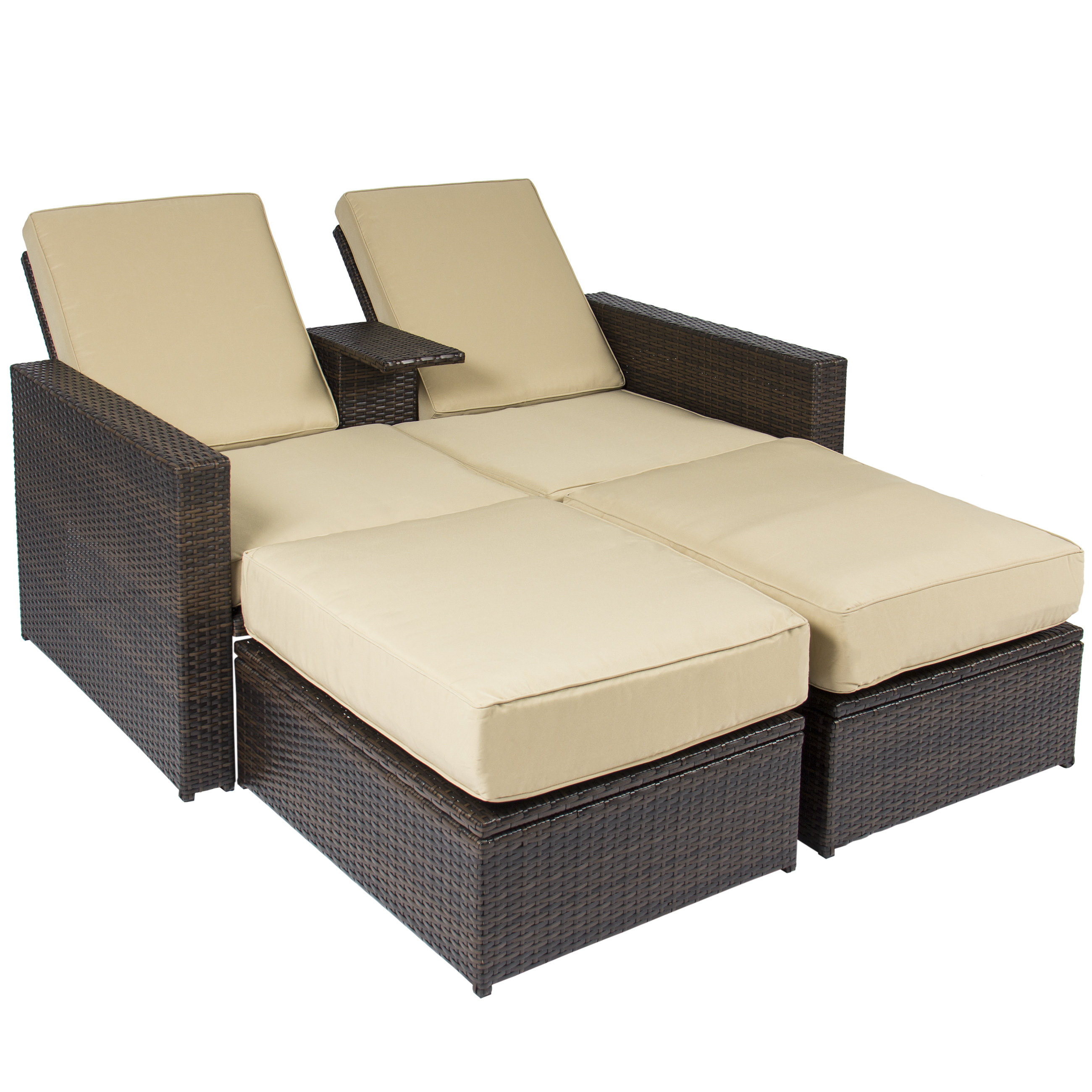 Outdoor 3pc Rattan Wicker Patio Love Seat Lounge Chair