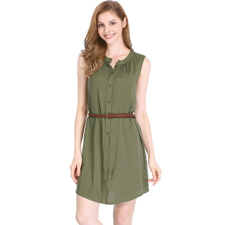 Unique Bargains Women's Above Knee Sleeveless Button Down Belted Dress - image 4 of 7