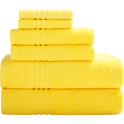 Mainstays Essential True Colors Bath Towel Collection, 6-Piece Set
