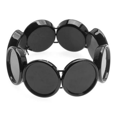 Black Plastic Stretch Bezel Collage Bracelet 20mm Round - 7 Inch
