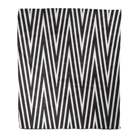 HATIART Throw Blanket Warm Cozy Print Flannel Pattern Black and White Zigzag Stripes Modern Creative Abstract Comfortable Soft for Bed Sofa and Couch 50x60 Inches - image 1 of 1