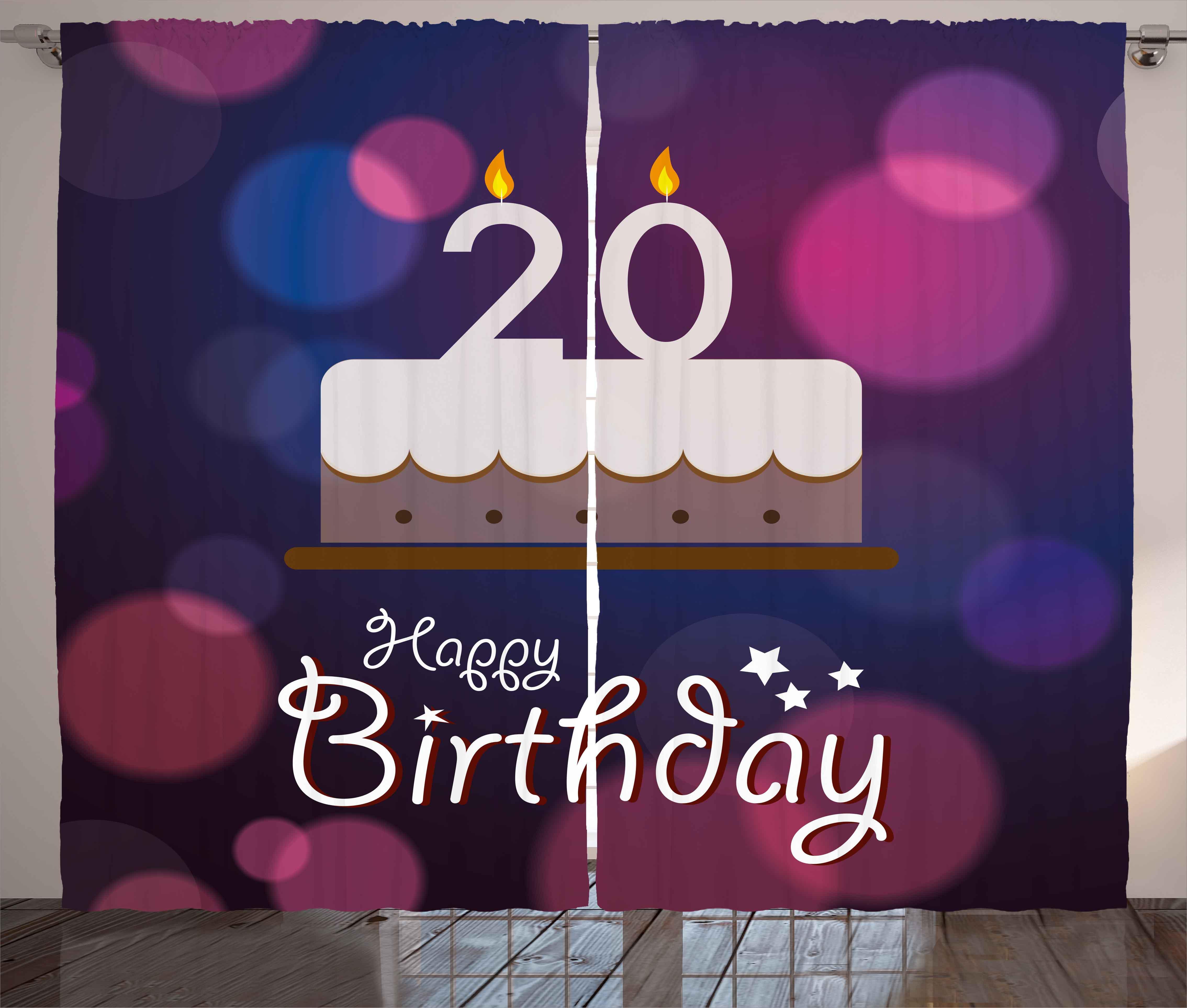 20th Birthday Decorations Curtains 2 Panels Set Twenty Birthday