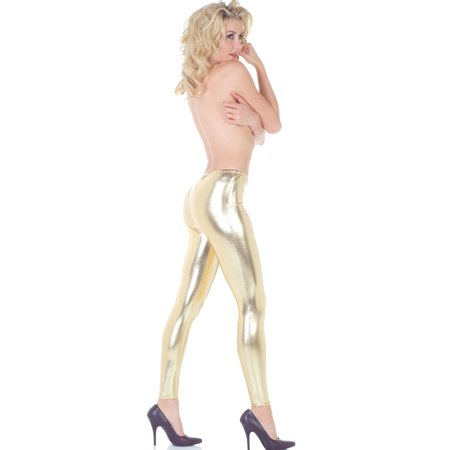Gold Metallic Leggings Roller Derby Sexy Women Shiny Pants Party Accessory S-XL