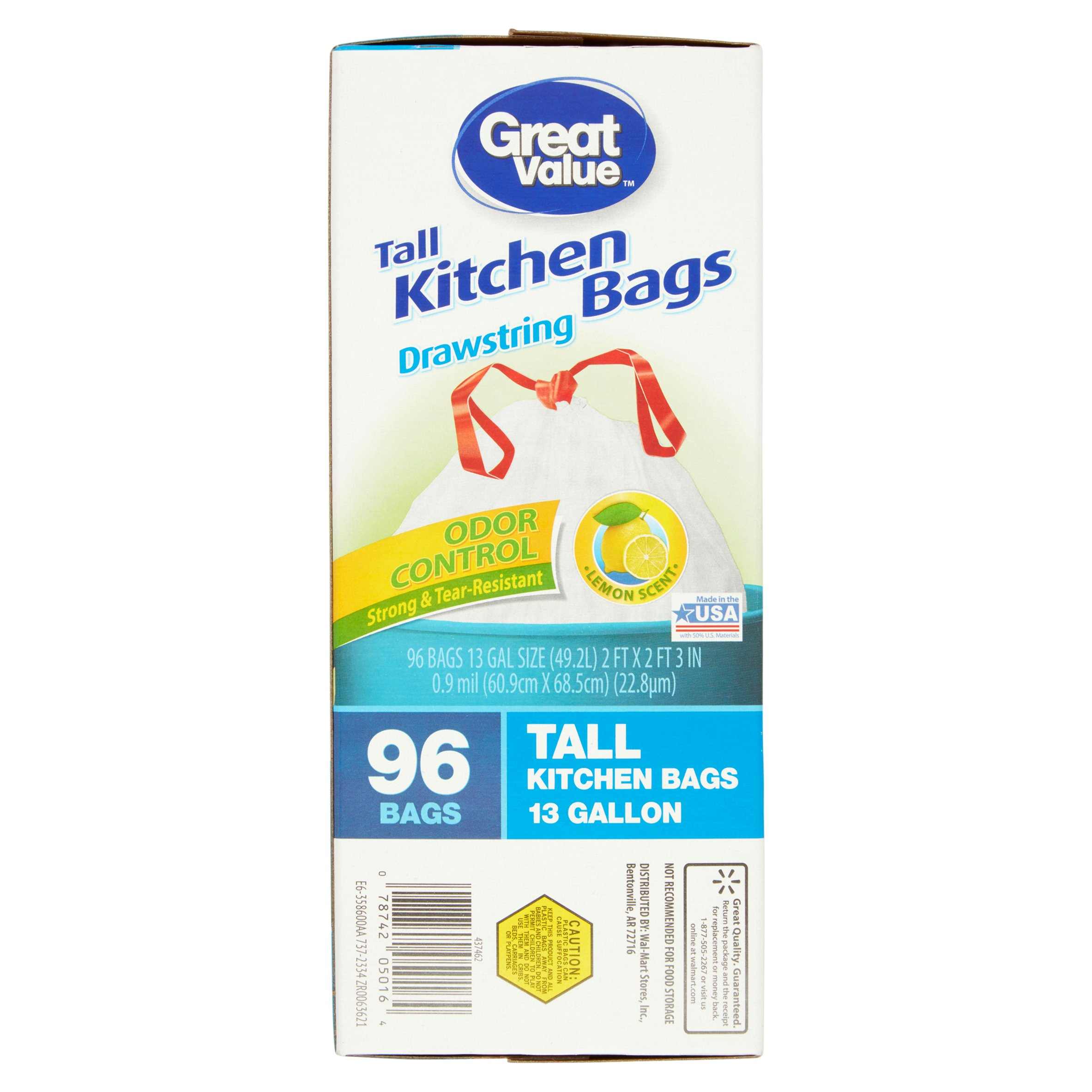 Great Value Lemon Tall Kitchen Drawstring Trash Bags, 13 Gallon, 96 ...