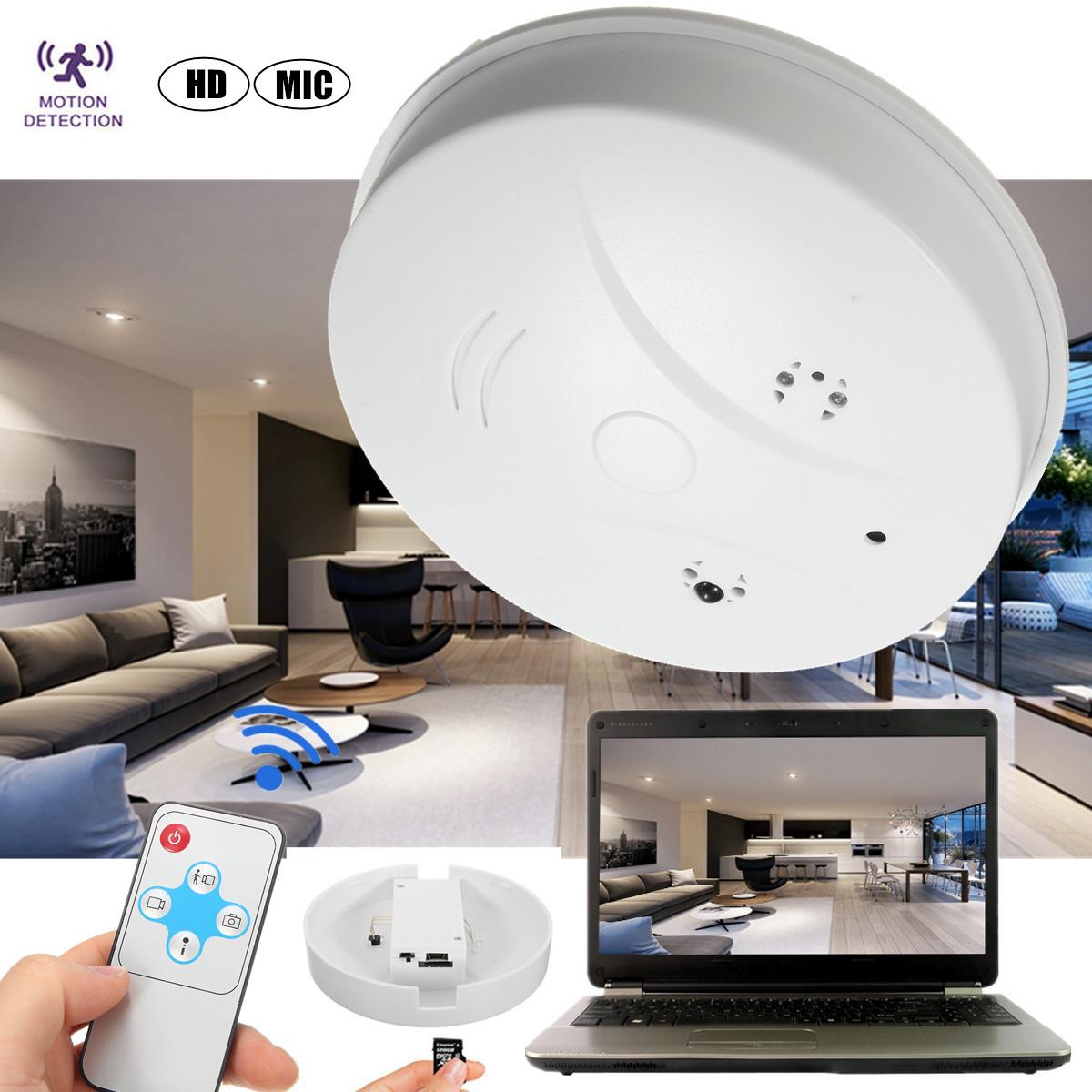 Wireless HD 1280x720P Smoke Detector Hidden Camera Motion Detector Recording DVR Camra Digital Mini Video Recorder Indoor Nanny Cam for Home Security