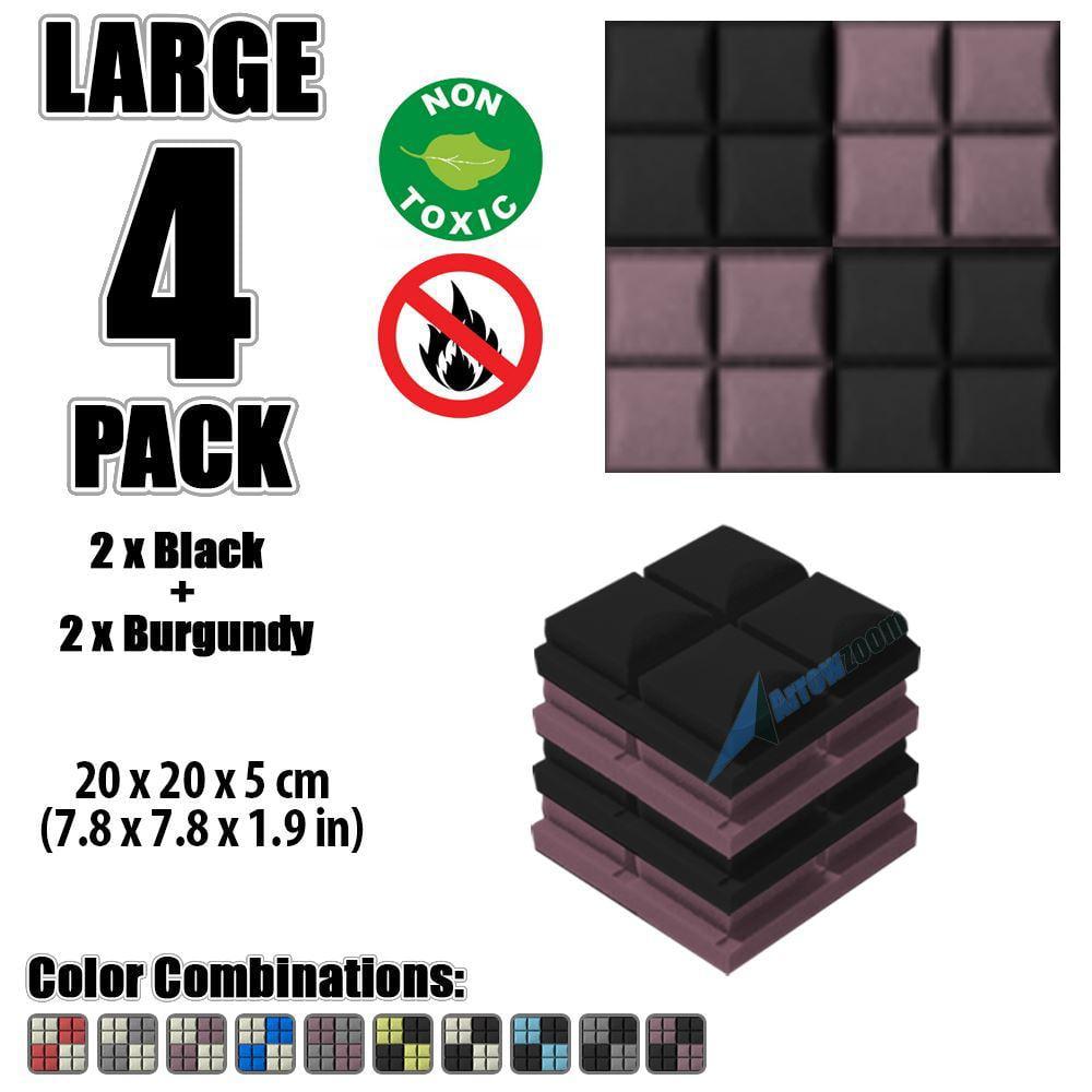 "Arrowzoom New Black and Burgundy 7.8"" x 7.8"" x 1.9"" Hemisphere Grid Tile Acoustic Studio Sound Absorption Foam, 4-pcs"
