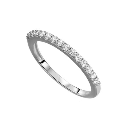 Round Cut White Natural Diamond Wedding Band in 10k White Gold (1/3 Cttw) By Jewel Zone US