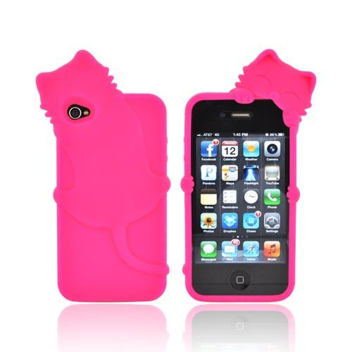 For Apple iPhone 4S 4 Pink 3D Cat Rubbery Feel Anti-Slip Silicone Skin Case Cover