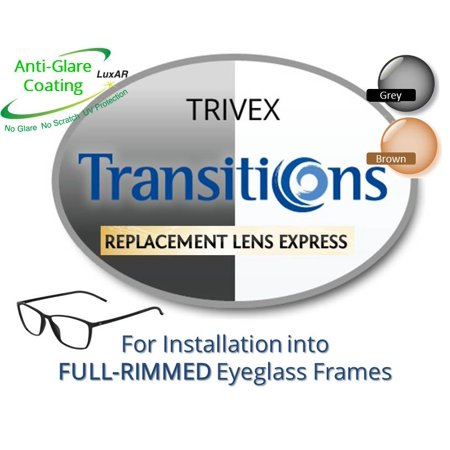 Single Vision Transitions Trivex Prescription Eyeglass Lenses, Left and Right (One Pair), for installation into your own Full-Rimmed Frames (Anti-Scratch & Anti-Glare Coating Included) ()