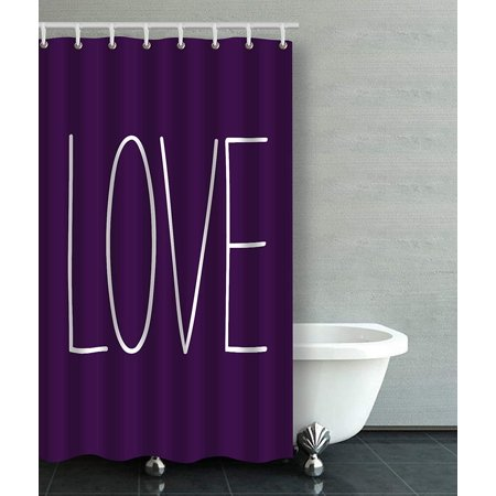 BPBOP Love Pale Pinkish Purple Violet Blue Bathroom Shower Curtain 48x72 inches