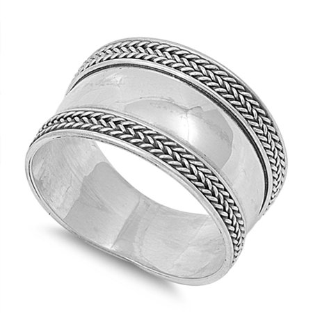 Bali Simple Braid Rope Polished Wide Ring .925 Sterling Silver Band Size 9