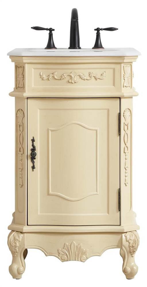 Elegant Decor Vf10121lt 21 In Single Bathroom Vanity In Light Antique Beige 21 X 36 X 19 In Walmart Com Walmart Com