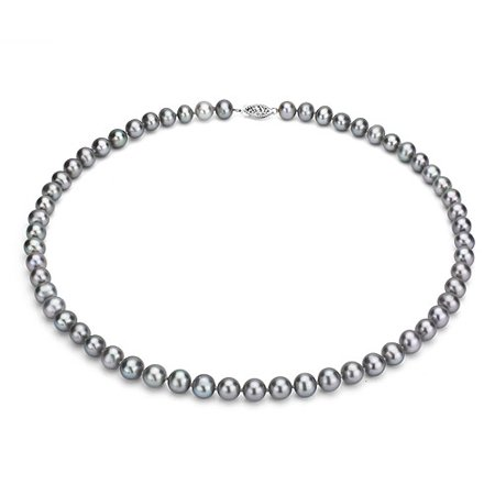 "ADDURN Ultra-Luster 7-8mm Grey Genuine Cultured Freshwater Pearl 18"" Necklace and Sterling Silver Filigree Clasp"