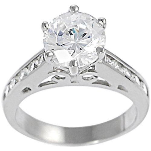 Alexandria Collection Sterling Silver Filigree Cubic Zirconia Engagement Ring