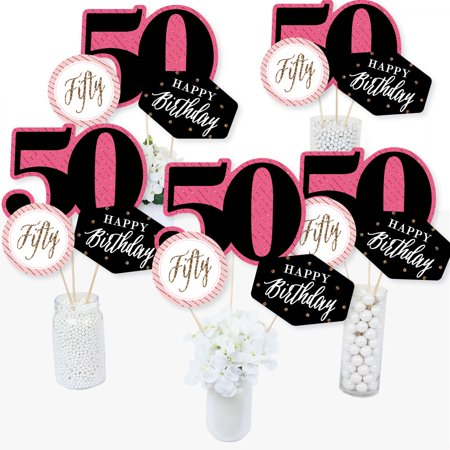 Chic 50th Birthday - Pink, Black and Gold - Birthday Party Centerpiece Sticks - Table Toppers - Set of 15 (Pink And Black Table Centerpieces)