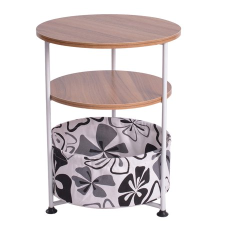 matoen Three-tier Round Side Table With Fabric Storage End Table Bedroom Bedside Table