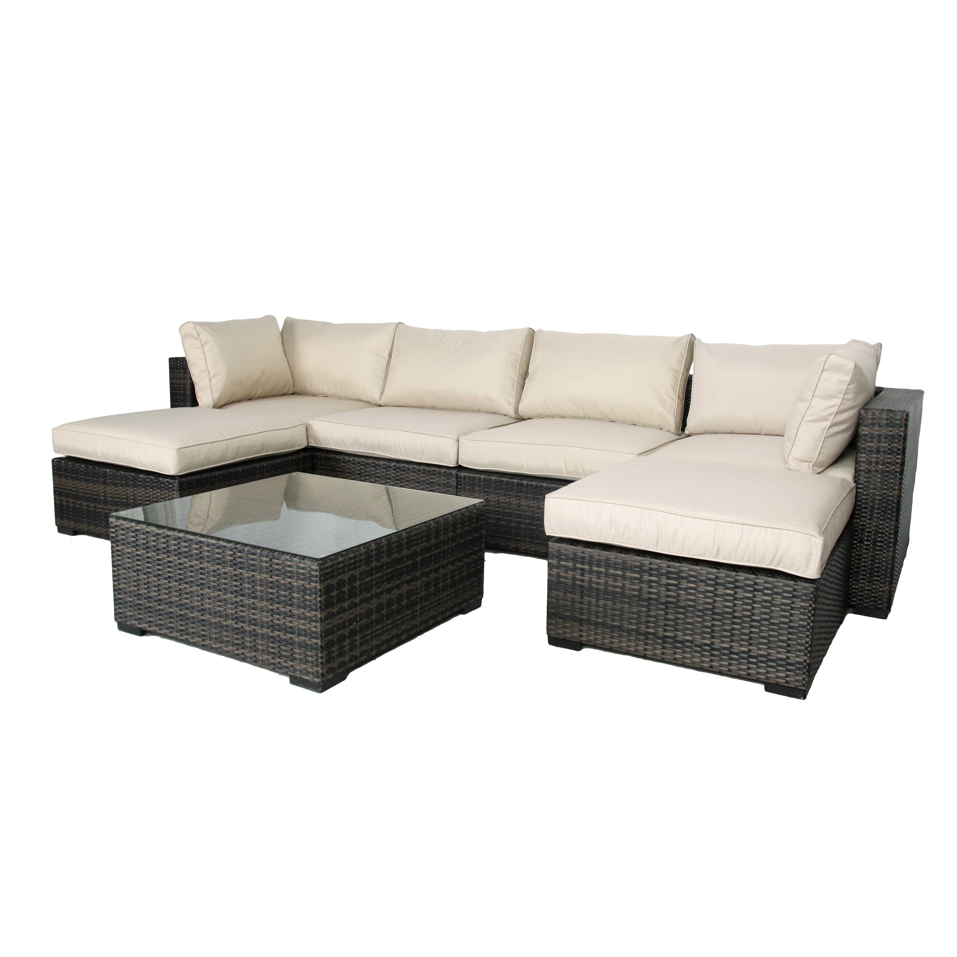 Creative Living South H&ton 7 Piece Wicker Sectional Conversation Set - Walmart.com  sc 1 st  Walmart : conversation sectional - Sectionals, Sofas & Couches