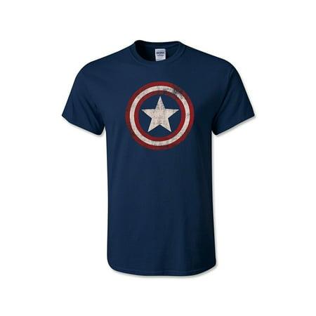MARVEL CAPTAIN AMERICA Distressed Logo Shield T-Shirt