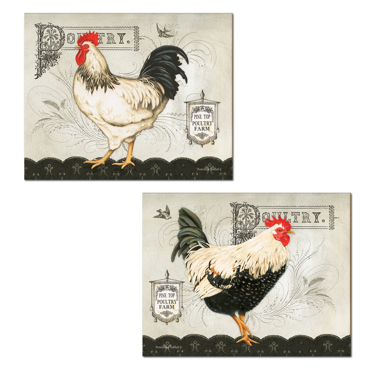 Lovely Poultry Farm Chicken Prints; Country Decor; Two 14x11in Poster Prints