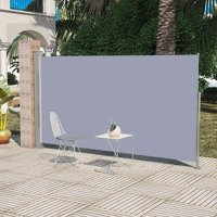 Patio Retractable Side Awning Garden Canopy Sunshade Shed Grey Steel Post Polyester Fabric