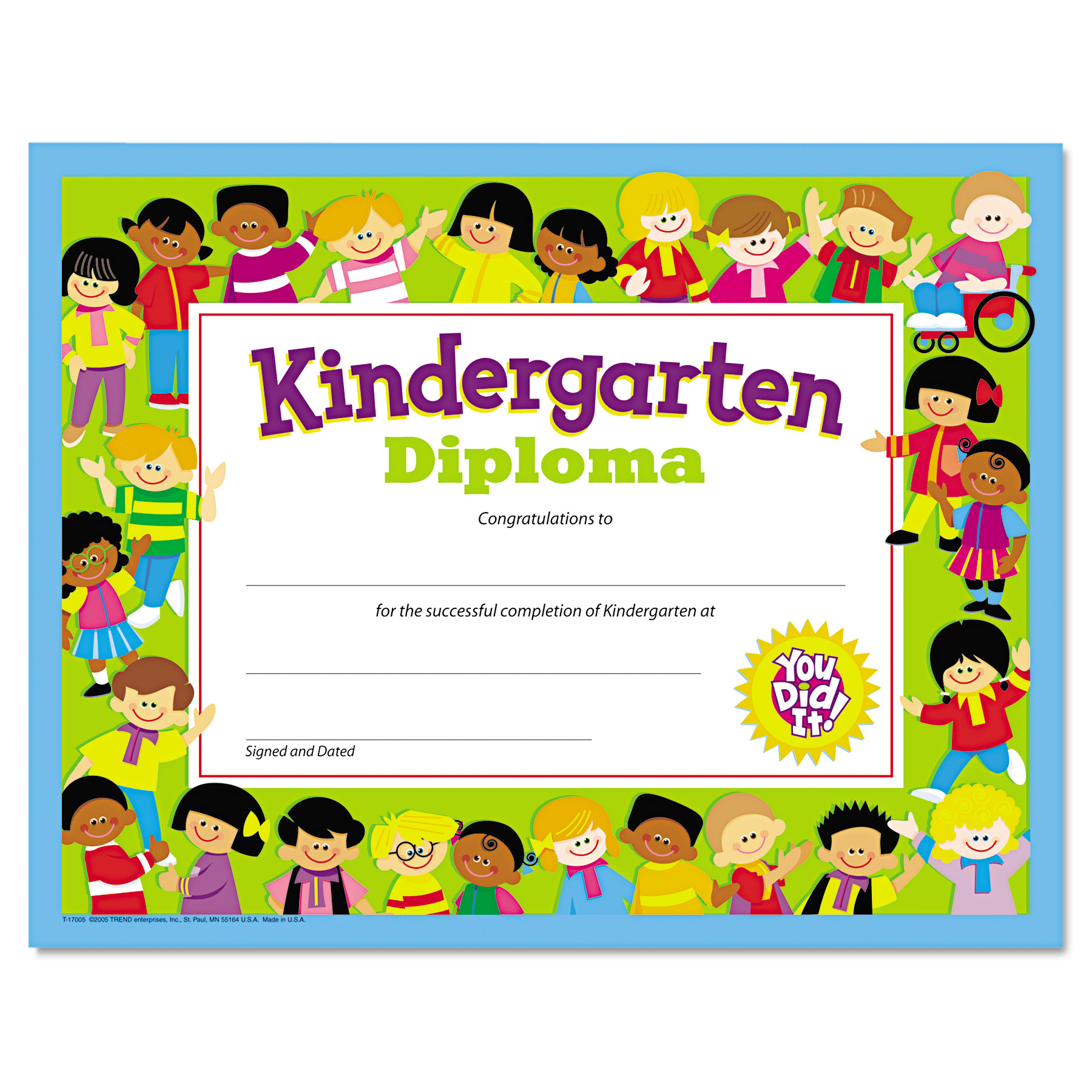 TREND Colorful Classic Certificates, Kindergarten Diploma, 8 1/2 x 11, 30 per Pack