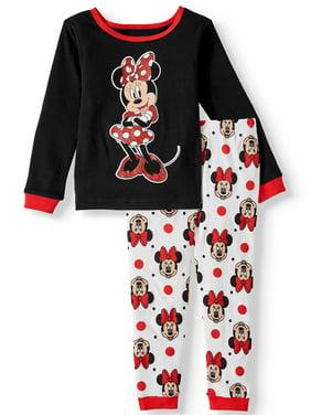 Minnie Mouse Toddler Girl Snug Fit Cotton Long Sleeve Pajamas, 2-Piece Set