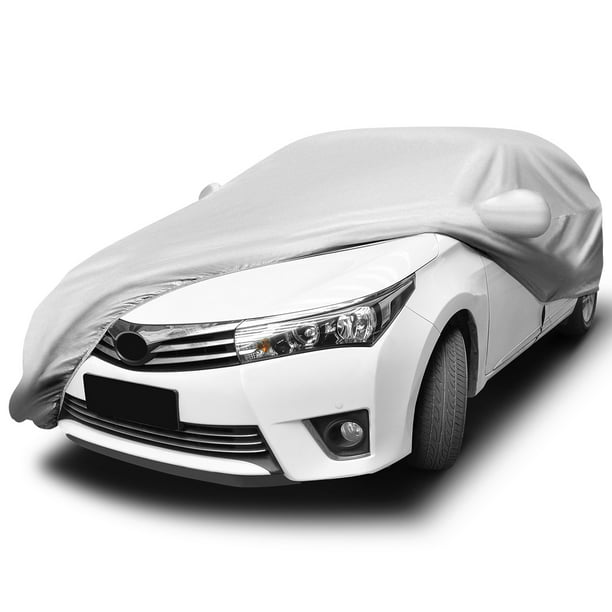 Breathable Car Cover Full Anti Scratch Dust Sun Wind Water Resistant Outdoor Vehicle Protection (Polyester Taffeta,Silver)