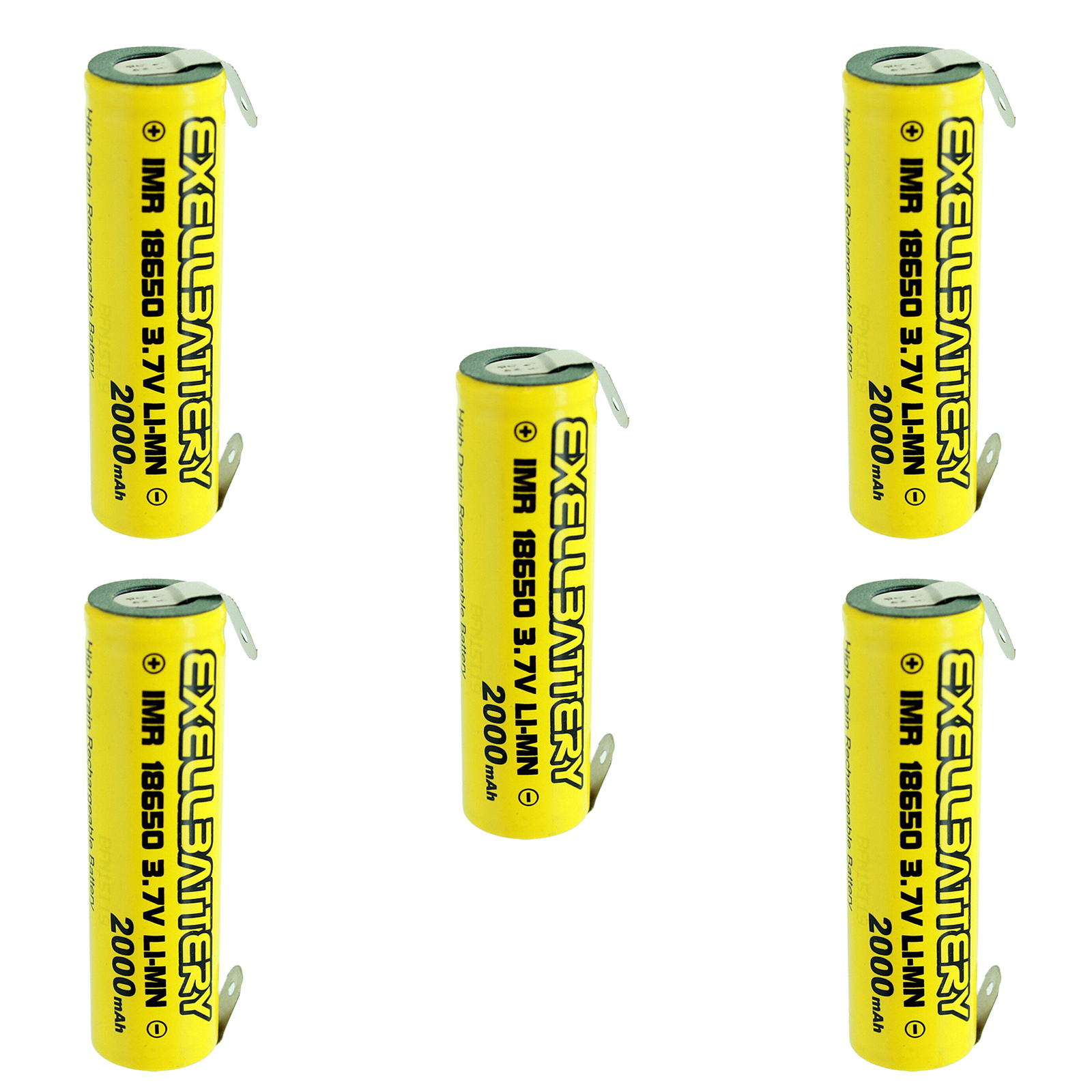 5pc IMR 18650 3.7V LiMN 2000mAh Rechargeable Battery w/ S...