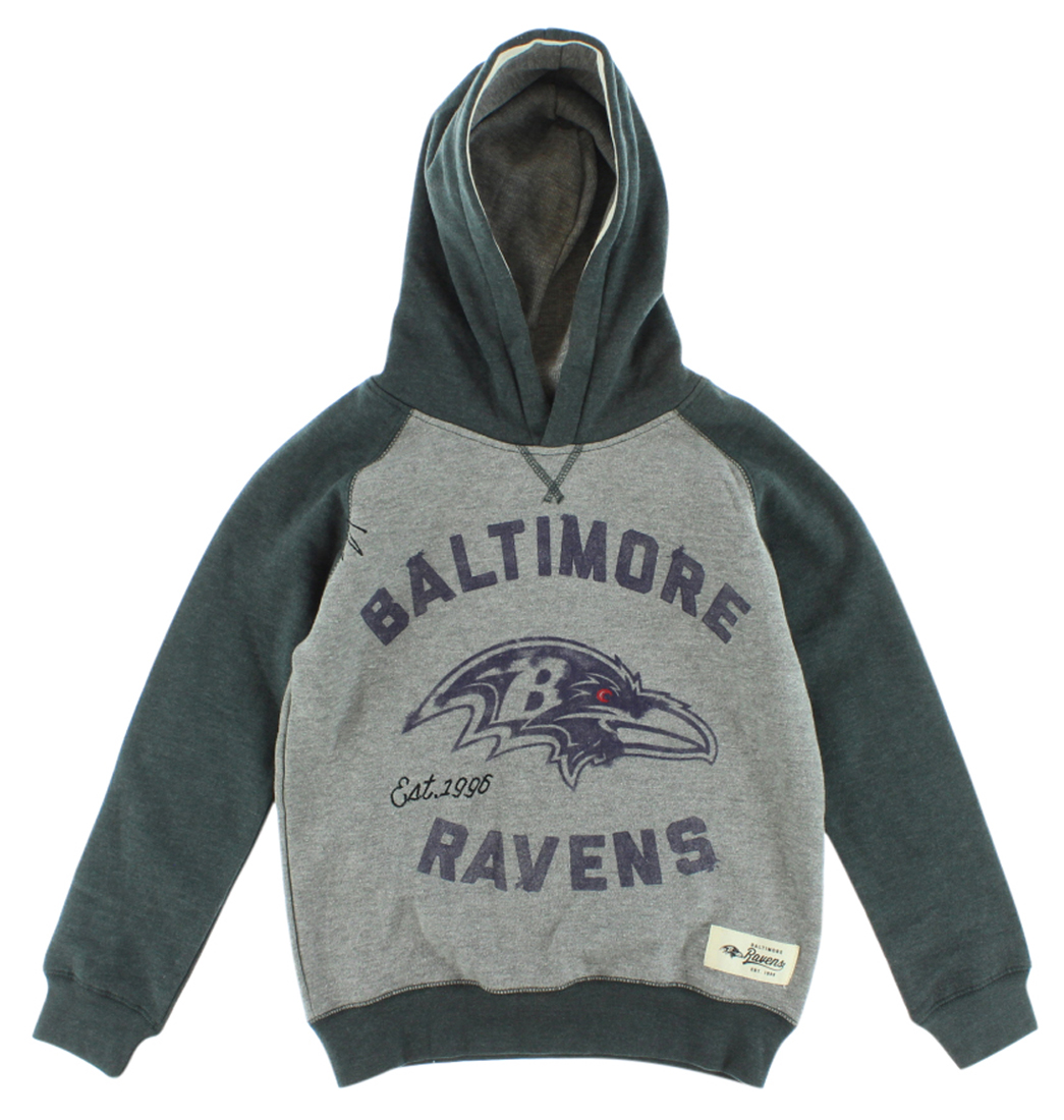 NFL Boys Baltimore Ravens NFL Faded Arch Pullover Hoodie Grey S