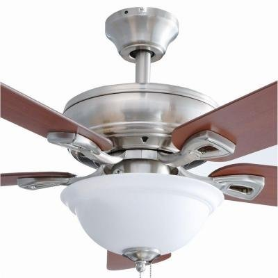 Hampton Bay Rothley 52 in. Indoor Brushed Nickel Ceiling Fan with Shatter Resistant Light (Hampton Bay Ceiling Fan Replacement Blade Arms)