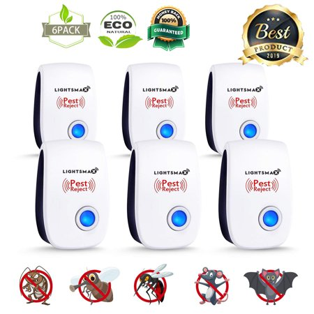 6 PK [2018 NEW UPGRADED] LIGHTSMAX - Ultrasonic Pest Repeller - Electronic Plug -In Pest Control Ultrasonic - Best Repellent for Cockroach Rodents Flies Roaches Ants Mice Spiders Fleas (Best Natural Black Fly Repellent)