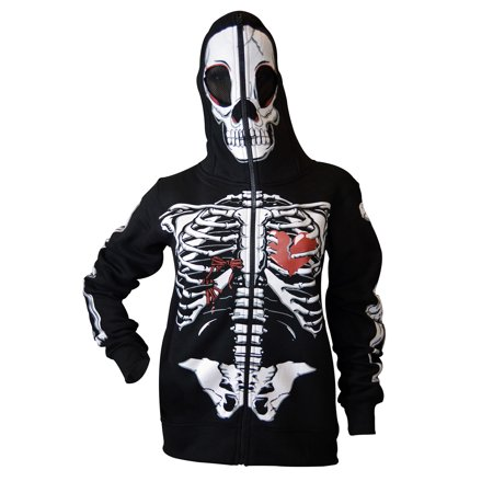 Women Full Face Mask Skull Skeleton Sweatshirt Halloween Costume Hoodie Black L - Skeleton Halloween Mask